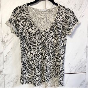 Zara W&B Leopard Animal Linen Asymmetrical Top XS